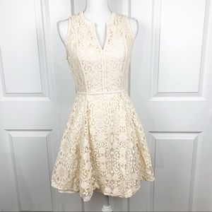 LC Lauren Conrad Lace A Line Cream Dress